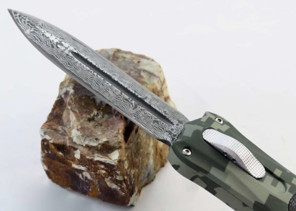 TacKnives OTF Double Action Safety Knife Out-The-Front Military Camo Damascus Style MTU1