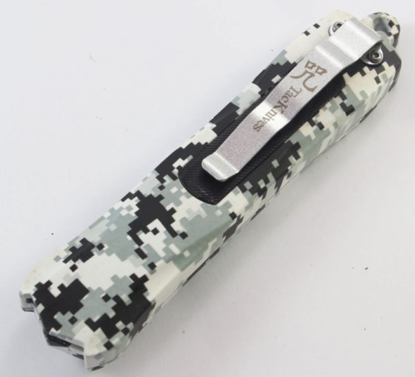 TacKnives OTF Double Action Safety Knife Out-The-Front Military White Camo Damascus Style MTU12